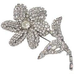 1960s Rhinestone Flower Brooch