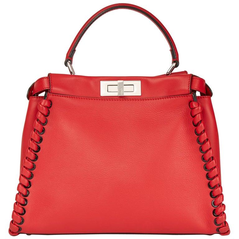2017 Fendi Red Smooth Calfskin Leather Whipstitch Regular Peekaboo