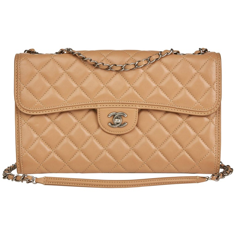 2014 Chanel Mocha Quilted Lambskin Classic Single Flap Bag For Sale