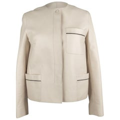 Hermes Jacket Cream Lambskin Leather Black Piping 36 / 4