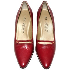 St. John Cranberry Leather Pumps W/ Small Strap on Vamp