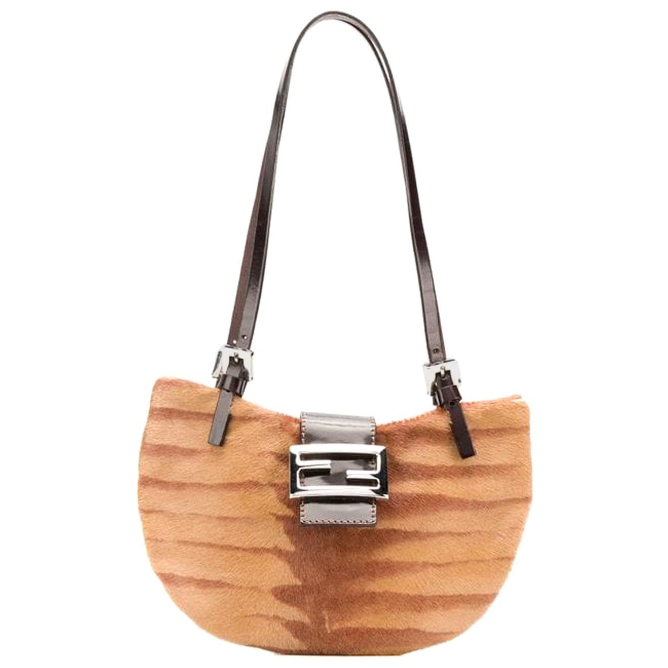 Fendi Camel Leather and Fur Evening Bag