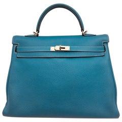Hermes Blue Jean Kelly 35cm in Clemence
