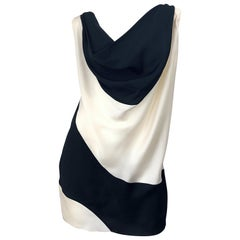 Vintage Donna Karan Runway Collection Black & White Ivory Sz 10 / 12 Tunic Dress
