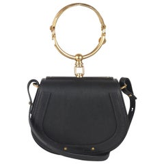 Chloe Black Leather Suede Nile Bracelet Bag with Shoulder Strap
