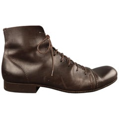 Men's EMPORIO ARMANI Size 9 Brown Leather Lace Up Ankle Boots