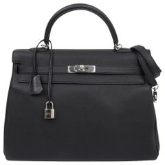 3458ef2e46e7 Hermes Kelly 35 Bag Black Retourne Togo Palladium Hardware