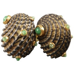 L'OREE du BOIS 18k Gold Green Stone Sea Shell Clip On Earrings