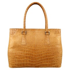 LK LEATHER BANGKOK Tan Crocodile Leather Double Top Handle Handbag