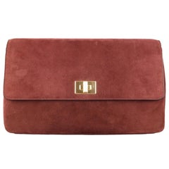 BRUNO MAGLI Burgundy Suede Flap Gold Turn Closure Clutch Handbag