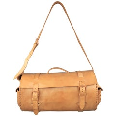 EUROPEAN NATURAL LEATHER BAGS Tan Leather Duffle Woven Trim Duffle Bag