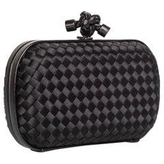 Bottega Veneta Black Intrecciato Satin Leather Knot Clutch, 2000s