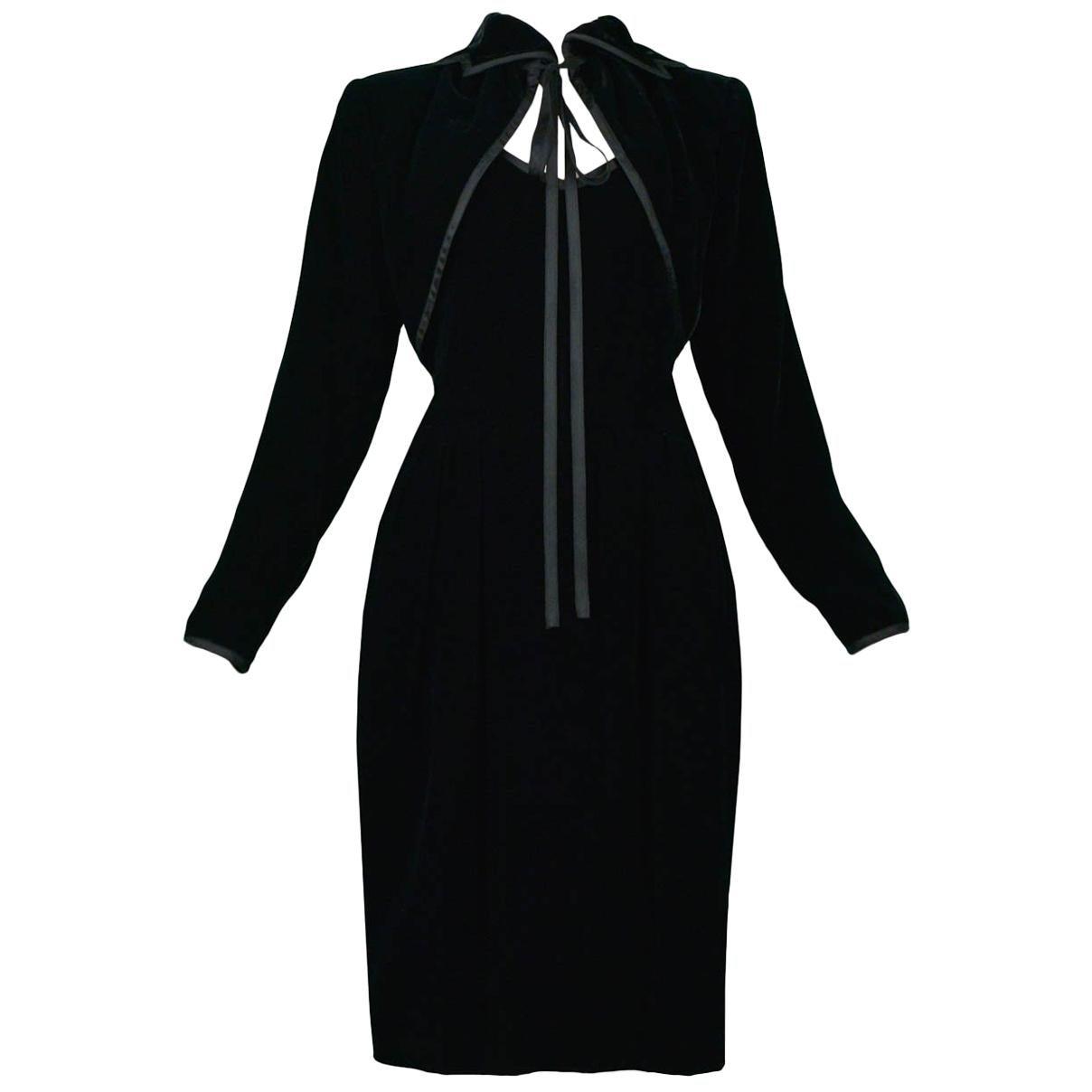 Vintage Yves Saint Laurent Black Velvet Bolero & Dress Ensemble