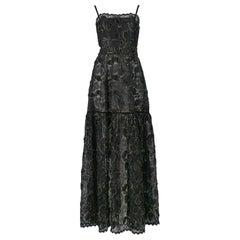 Vintage Yves Saint Laurent Black Lace & Gold Thread Evening Gown