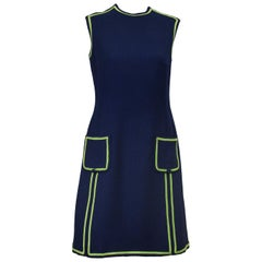 1960s Navy Wool Shift Dress with Lime Green Piping