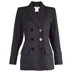 Yves Saint Laurent Rive Gauche Black Worsted Wool Pinstripe Womens Blazer