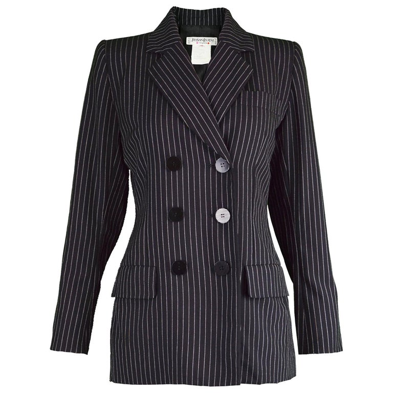 e6f681760e8 Yves Saint Laurent Rive Gauche Black Worsted Wool Pinstripe Womens Blazer  For Sale