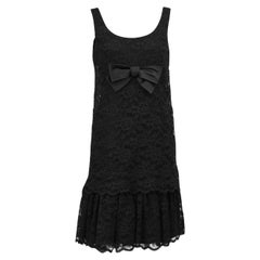 1960s Black Lace Cocktail Dress with Bow