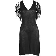 Jean Paul Gaultier Maille Femme Vintage Fine Knit Crochet Sleeve Dress