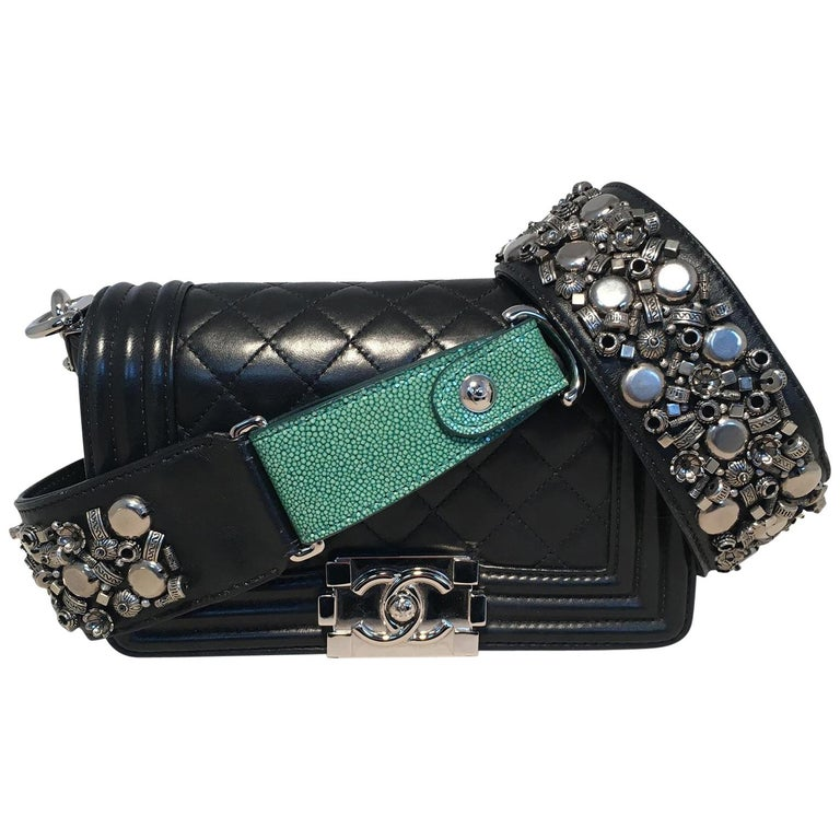 b59844817345 Chanel Black Mini Leather & Galuchat Le Boy Bag with Studded Strap For Sale