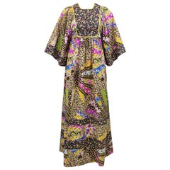 1970s Psychedelic Floral Patchwork Boho Dress