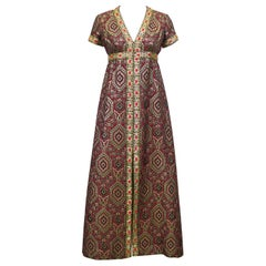 Late 1960s Moroccan Style Brocade Gown