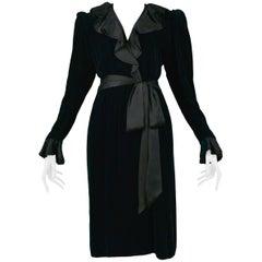 Vintage Yves Saint Laurent Velvet & Silk Wrap Dress