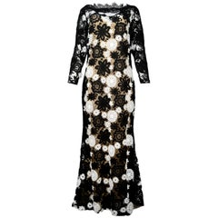 Naeem Kahn Black & White Lace-Guipure Long Sleeve Evening Gown Sz 14 rt. $4,995