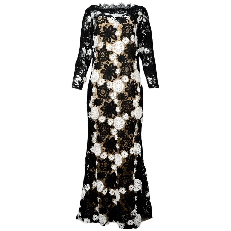 912801f859e Naeem Kahn Black   White Lace-Guipure Long Sleeve Evening Gown W  Slip Sz