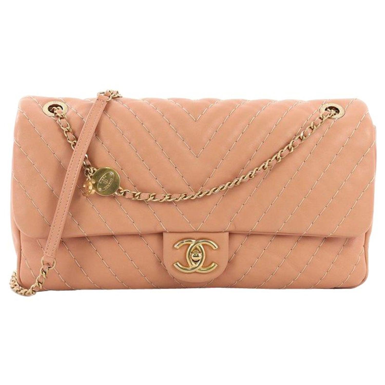 182eee695f50b6 Chanel Medallion Charm Flap Bag Chevron Calfskin Jumbo at 1stdibs