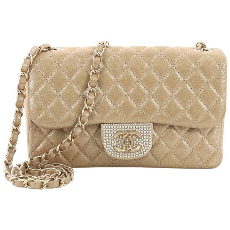 cdb26bf69543 Chanel Pearl CC Crystal Flap Bag Quilted Iridescent Fabric Sma For Sale