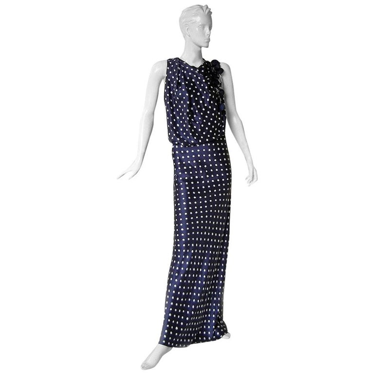 Lanvin Elegant 1930 Inspired Polkadot Evening Dress Gown Worn by Michelle Obama For Sale