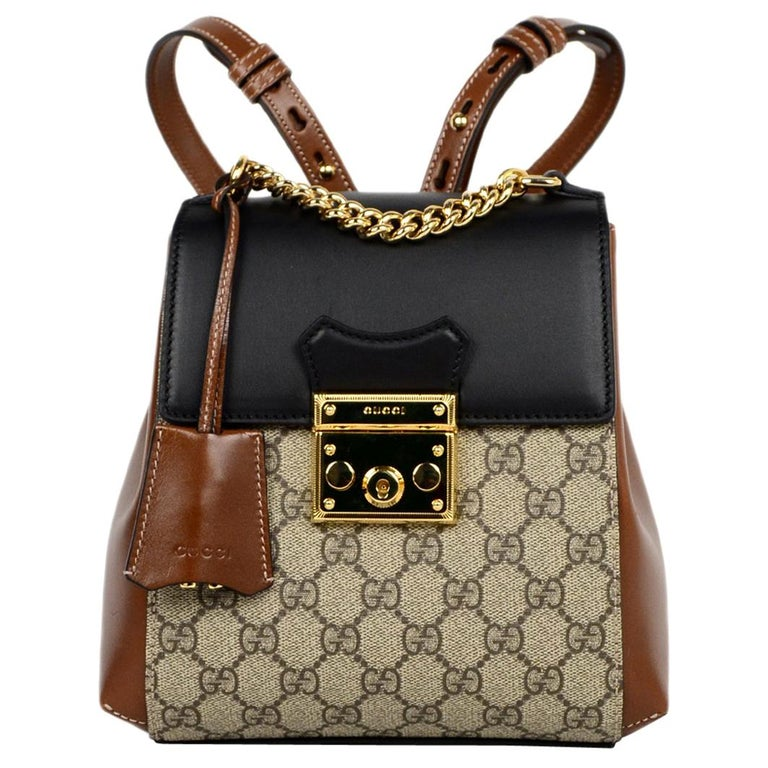 1b7085871330 Gucci 2019 Monogram GG Supreme Canvas & Leather Padlock Backpack Bag For  Sale