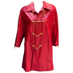 Bruno Magli Ladies Red Lambskin Leather Coat with Gold Chain Size Medium