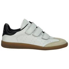 White & Black Isabel Marant Leather Sneakers