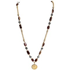 Chanel Gold Coco Chanel Coin Gripoix Necklace