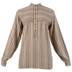 Vintage Yves Saint Laurent 1970's Brown Stripe Blouse