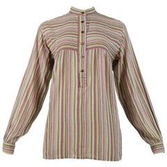 Vintage Yves Saint Laurent 1970's Brown Stripe Blouse