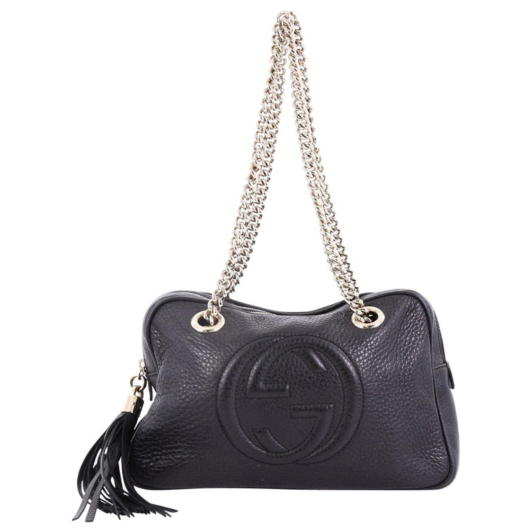c1a341d90e6a Gucci Soho Chain Zipped Shoulder Bag Leather Small at 1stdibs