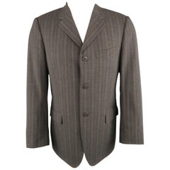 Men's DRIES VAN NOTEN 38 Size 38 Gray & Blue Stripe Wool Notch Lapel Sport Coat
