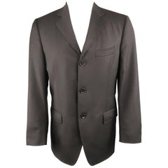 Men's DOLCE & GABBANA 38 Short Black Diagonal Stripe Wool Notch Lapel Sport Coat