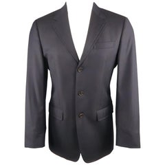 PRADA 38 Regular Navy Woven Textured Wool Three Button Sport Coat