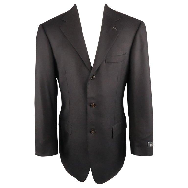 3c4d7035f4 Men's ERMENEGILDO ZEGNA Napoli Couture 38 Navy Wool Notch Lapel Sport Coat