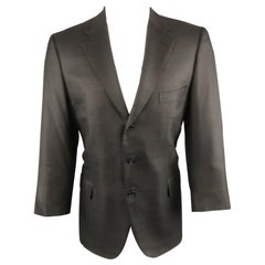 Men's BRIONI Regular Size 42 Black Wool Blend Windowpane Sport Coat