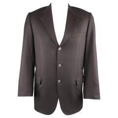 Men's BRIONI 42 Size 42 Black Solid Wool Notch Lapel Metal Button Sport Coat