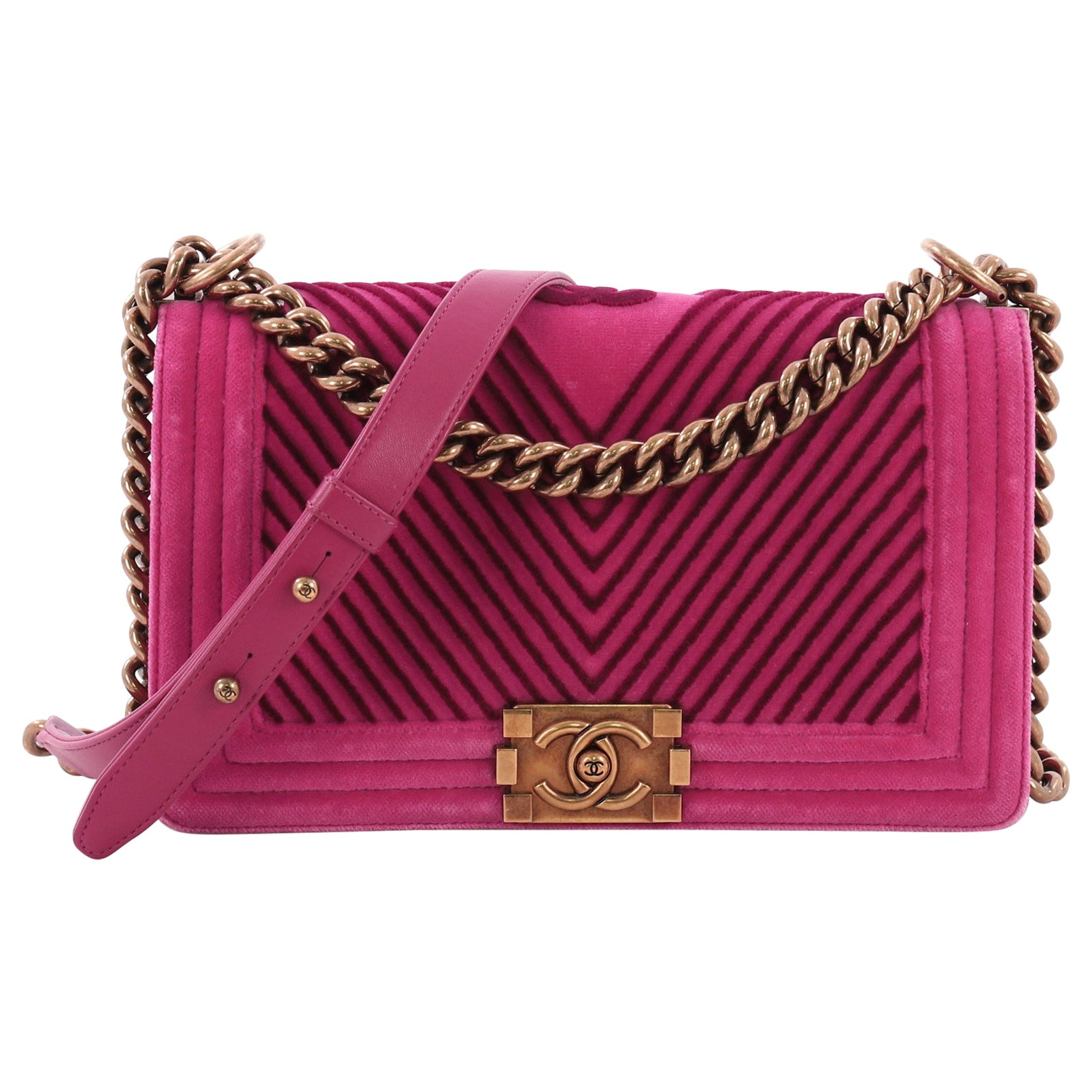 aaf089410a2b Chanel Boy Flap Bag Chevron Velvet Old Medium at 1stdibs