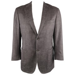 CANALI 42 Regular Gray Heather Wool / Silk / Linen Notch Lapel Sport Coat Jacket