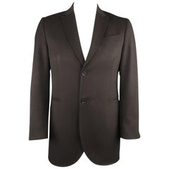 Men's CoSTUME NATIONAL Size 42 Black Solid Wool Peak Lapel Coat