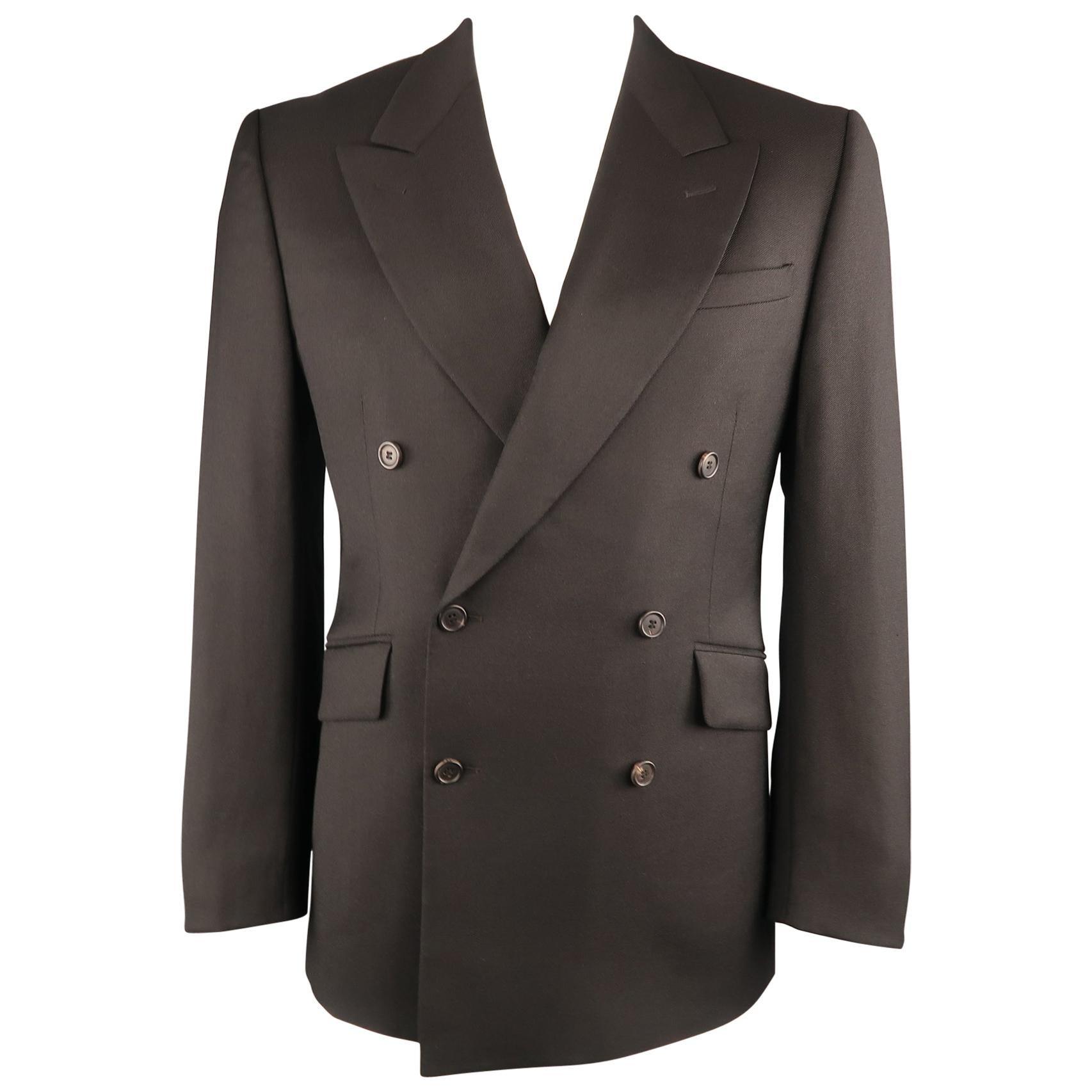 PRADA 42 Black Solid Wool / Mohair Twill Peak Lapel Double Breasted Sport Coat