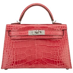 Hermes Kelly 20cm Model II Rose Extreme Alligator bag with Palladium hardware